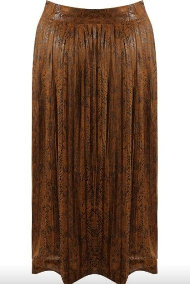Camel Snake Print Pleated Skirt | S, M or L