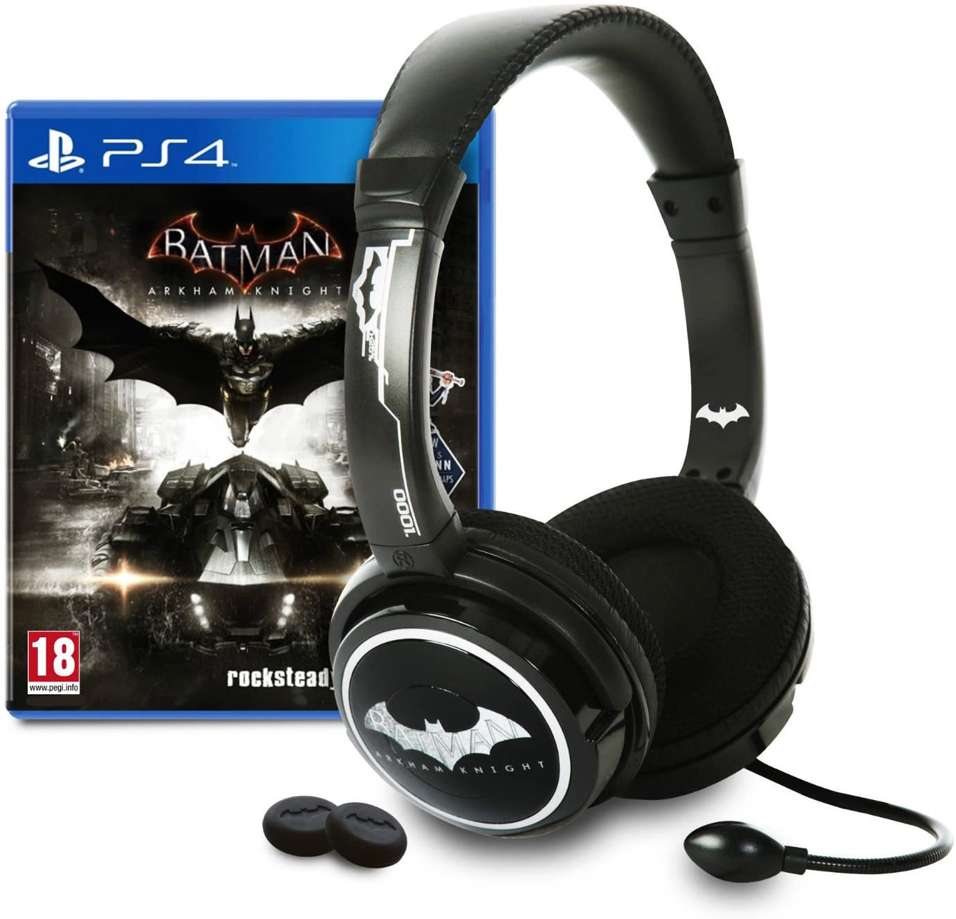 Batman Arkham Knight PS4 Game & Stereo Headset & Thumb Grips