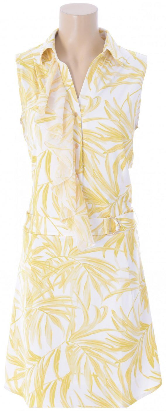 Yellow Palm Print Sleeveless Summer Dress from K-Design