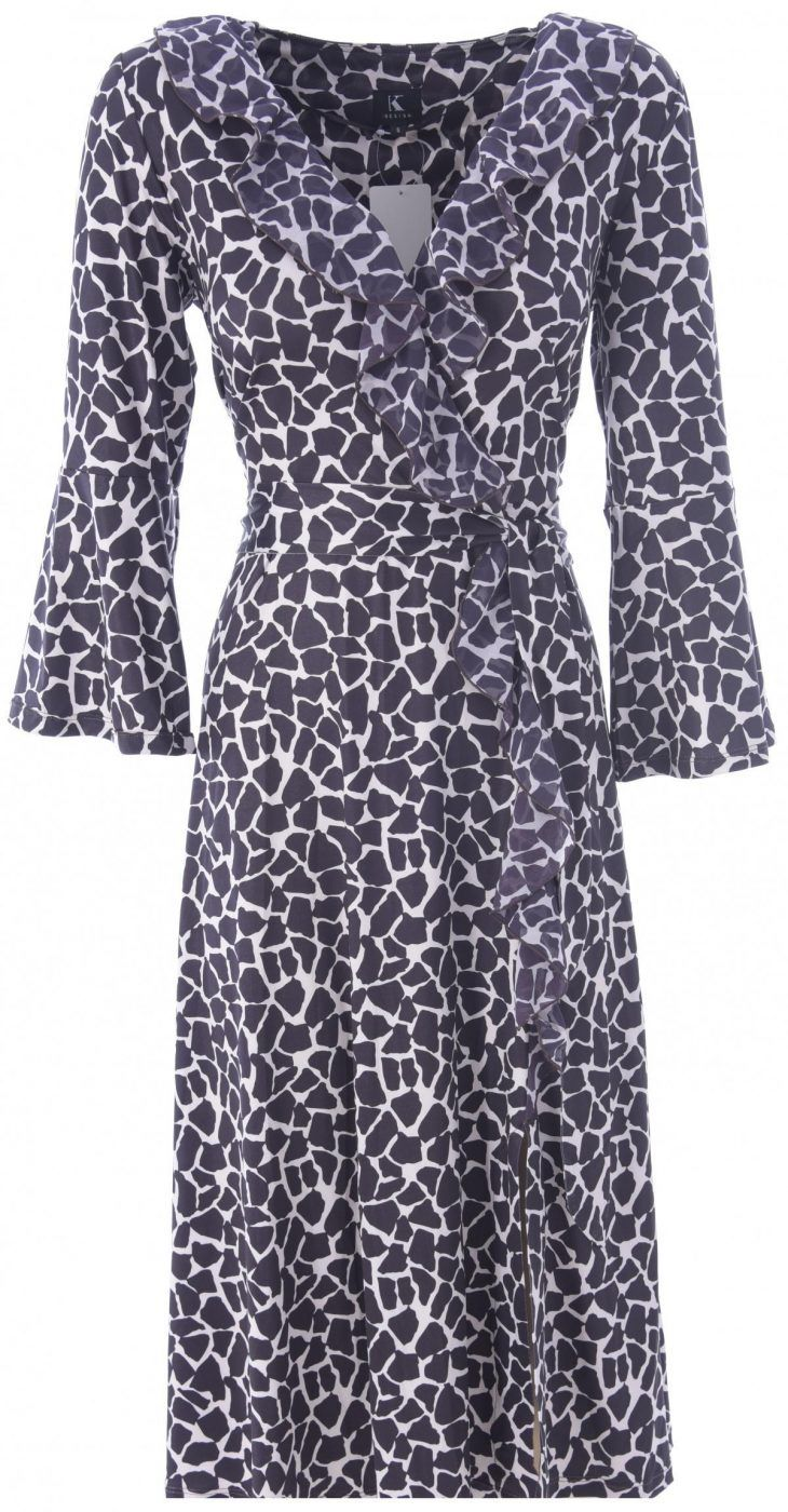 V Neck Faux Wrap Animal Print Dress from K-Design