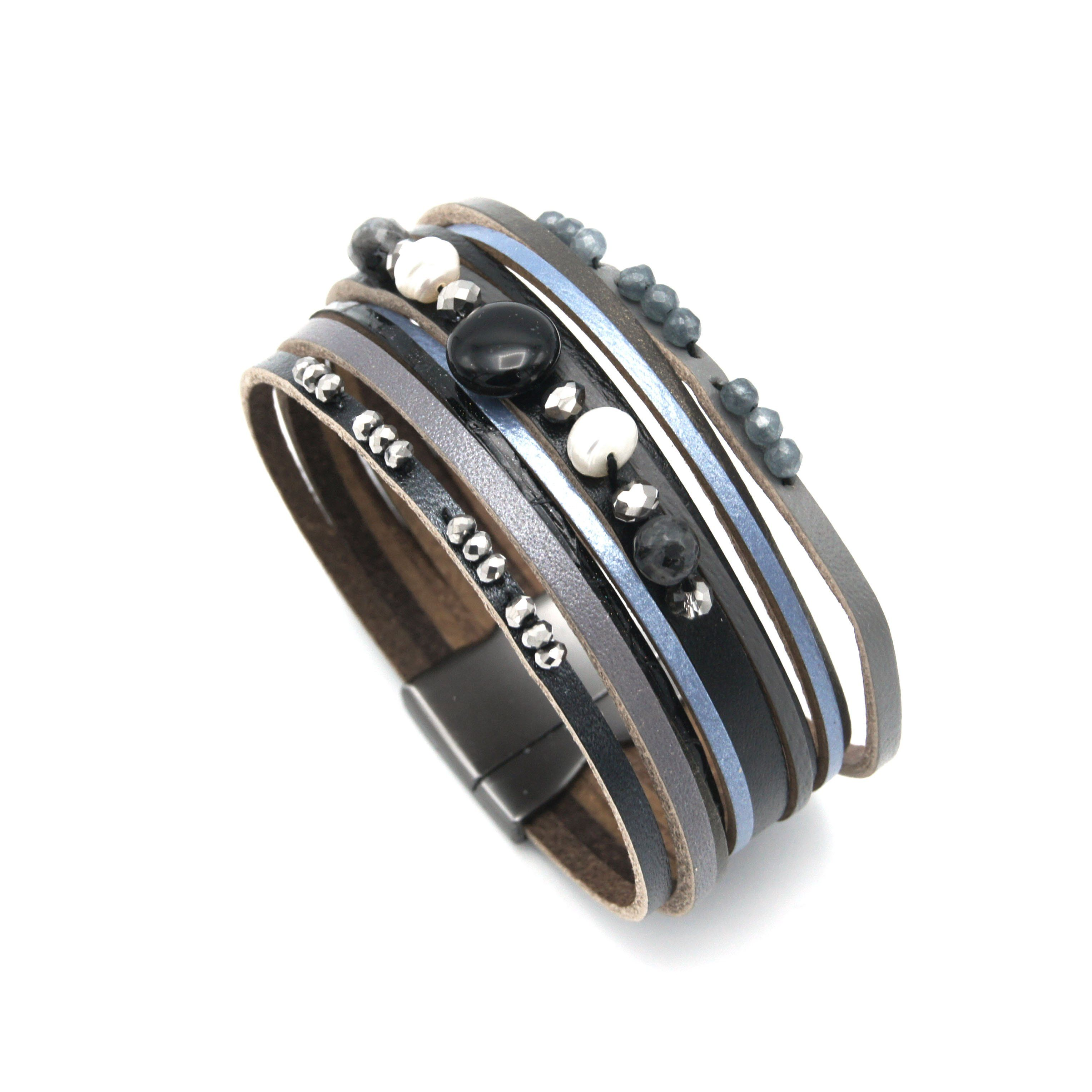 Newport Leather Bracelet - Black, Grey & Blue