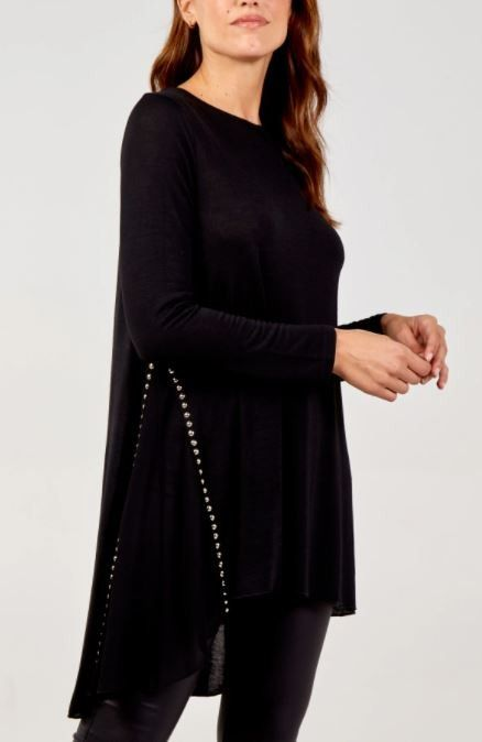 Gold Stud Dipped Hem Tunic With Sheer Panel | Black S