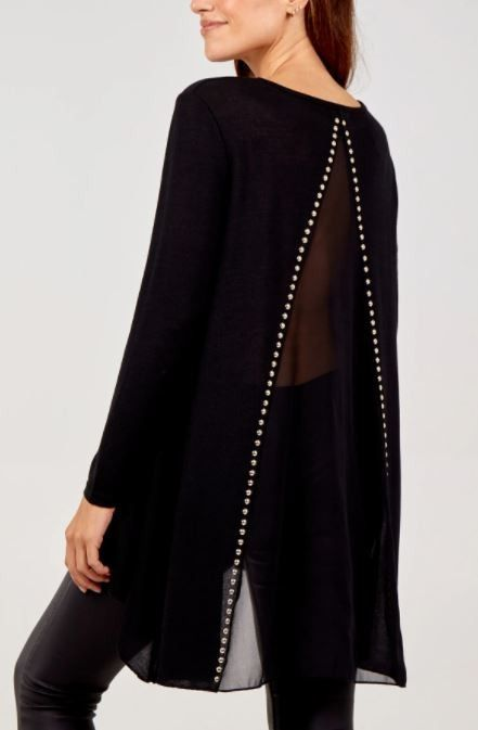 Gold Stud Dipped Hem Tunic With Sheer Back | Black M