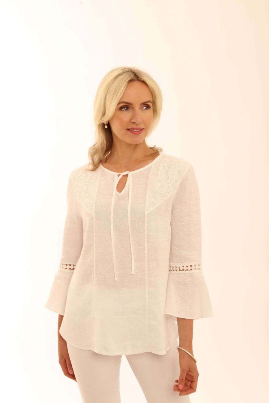 Flute Sleeve Lace Tunic from Pomodoro