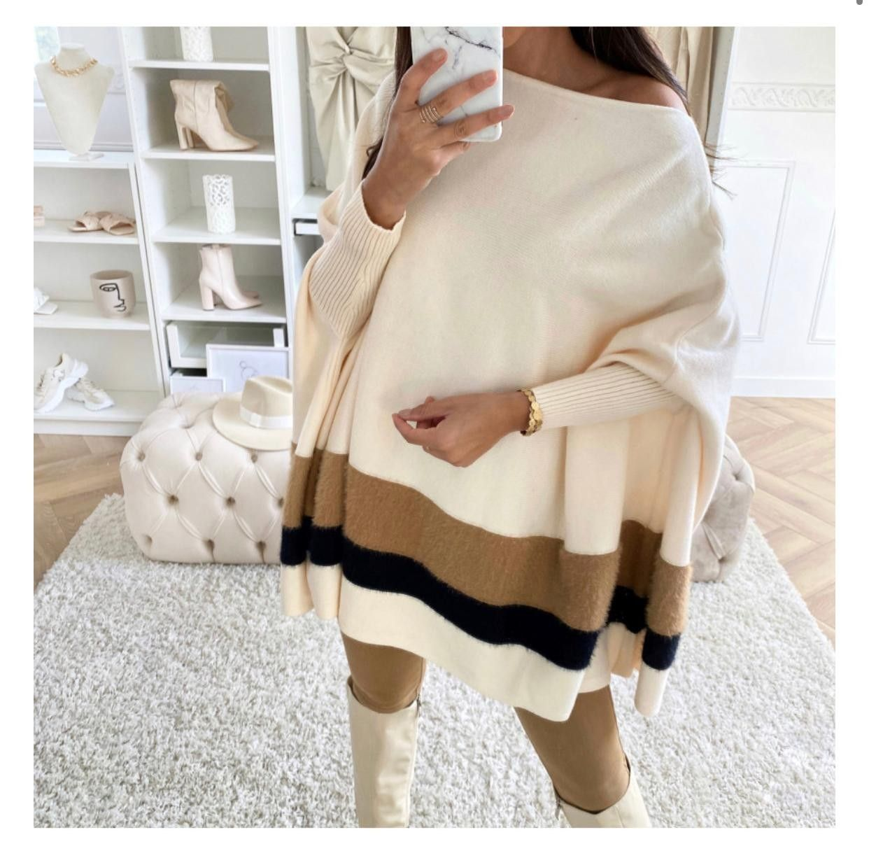 Fluffy Textured Poncho | Cream or Black Black