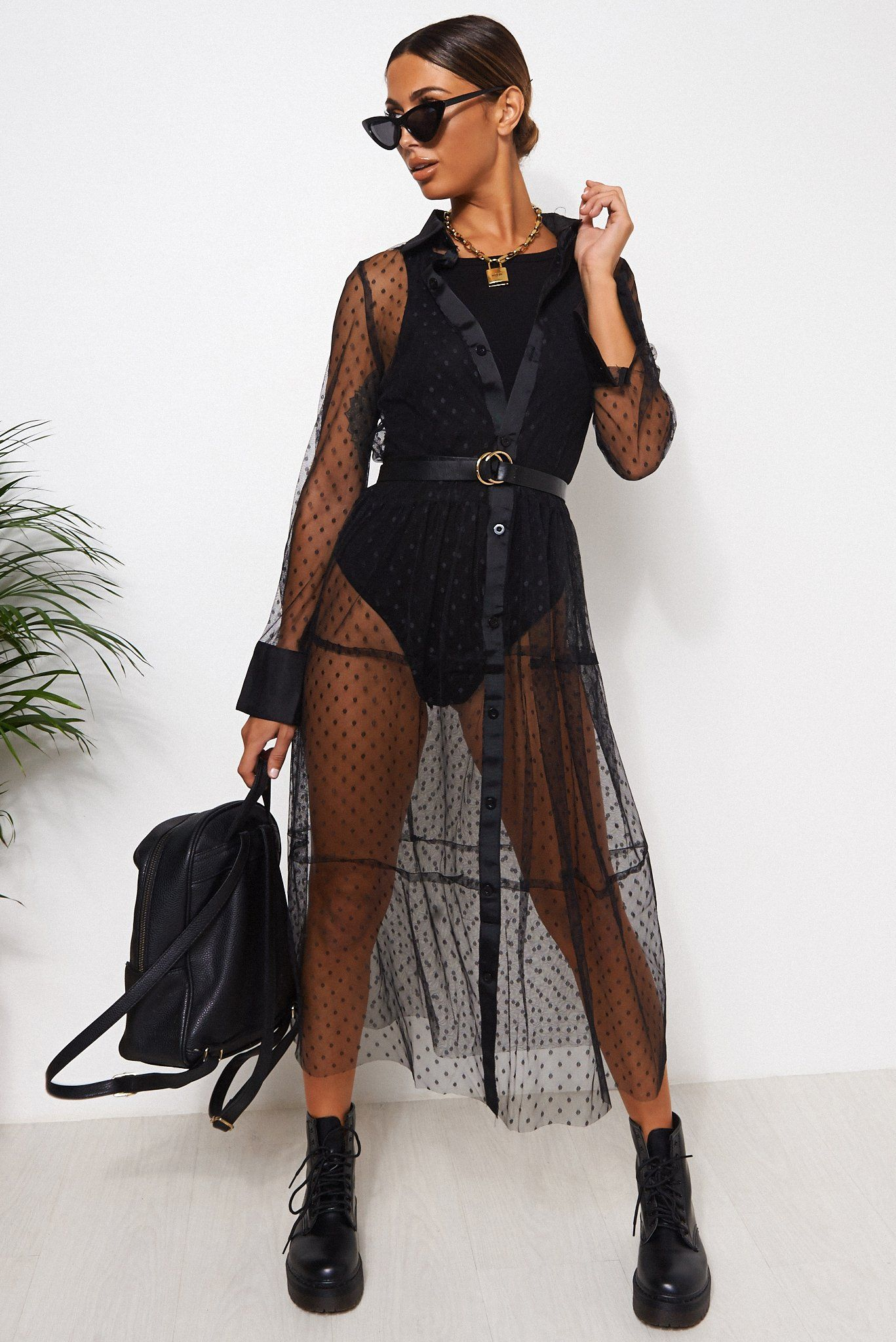 Black Mesh Polka Dot Shirt Dress Black - 6-8
