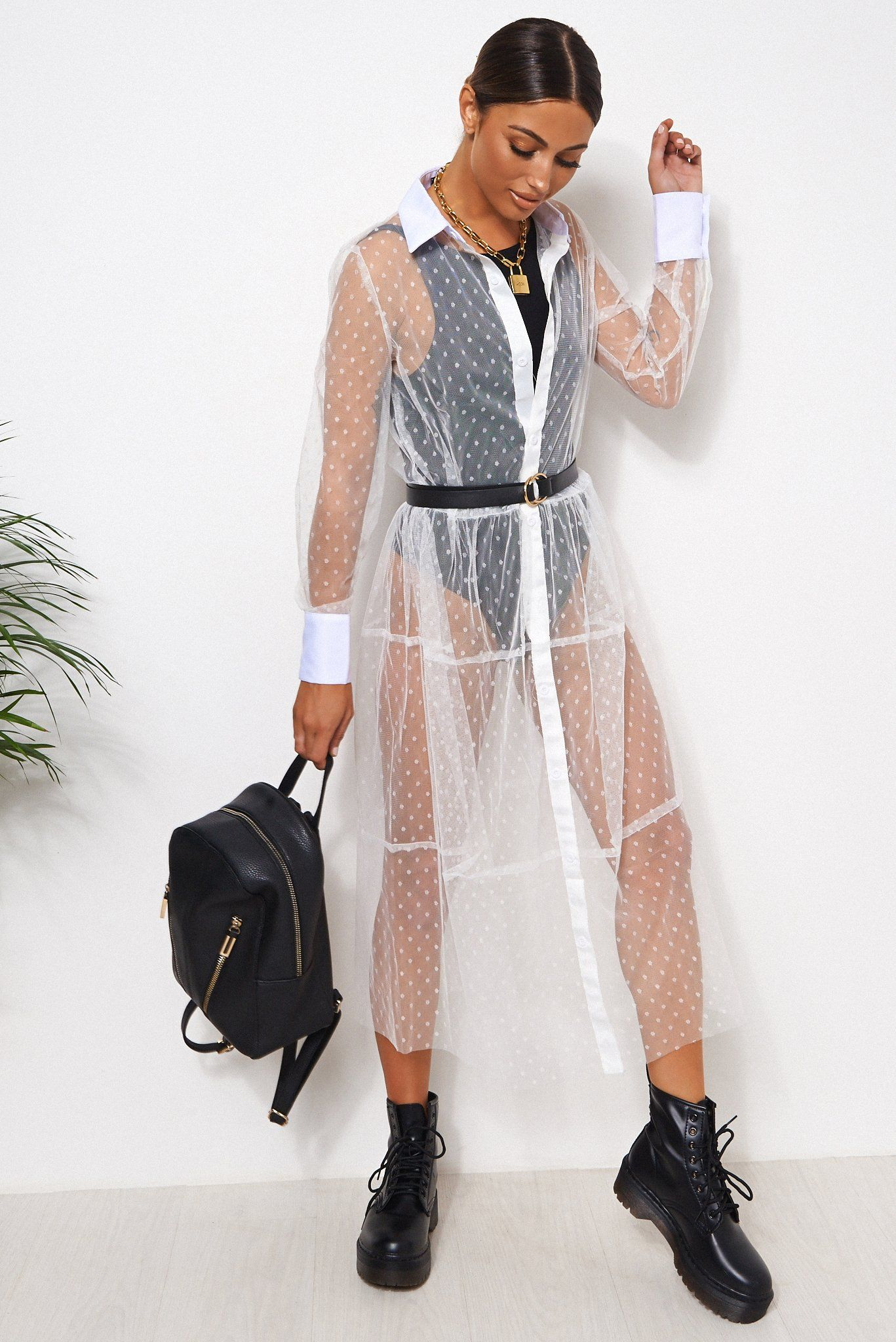 White Mesh Dobby Shirt Dress White - 8-10